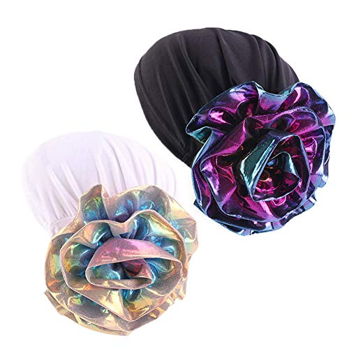 Luxury Stretchable Glitter Flower Chemo Beanie Hair Loss Turban (Women White +Black ()