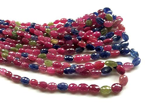 - KALISA GEMS Beads Gemstone 1 Strand Natural Multi Sapphire Plain Oval Beads, Multi Sapphire Statement Necklace 9-12mm, 7 Inch