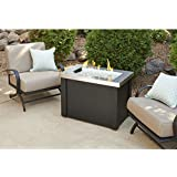 Outdoor Great Room Providence Stainless Steel Crystal Fire Pit Table with Black Metal Base