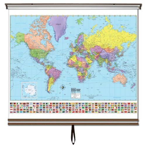 Advanced Political Wall Maps Set-Roller w/Backboard;3-Map Choices and Mounting Hardware Included