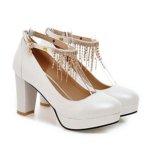 Balamasa Da Donna Con Borchie In Strass In Metallo Con Fibbia Catena Cinturino In Pelle Imitata Pumps-shoes In Pelle Bianca