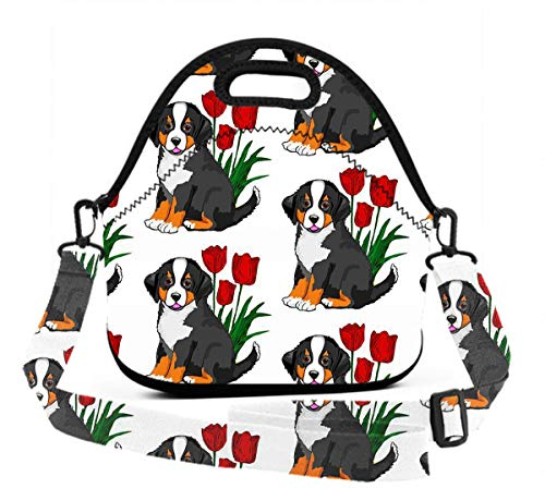 Lunch Bag - Bernese Mountain Dog - Neoprene Reusable Lunch Tote with 3D Digital Print Adjustable Shoulder Straps, Lunch Box Handbag for Kids and -