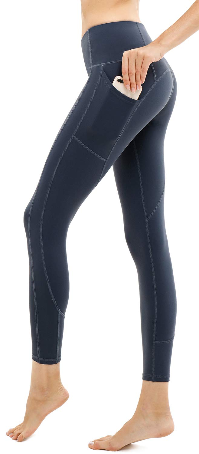 AFITNE Workout Leggings for Women with Pockets High Waisted Tummy Control Athletic Yoga Leggings Gym Yoga Pants Blue - S