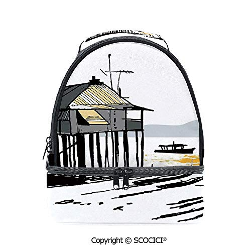 Cabelas Canoe - SCOCICI Large Capacity Durable Material Lunch Box Sketchy Fishing Village Malay in Singapore with Houses Canoe Palms Sun Multipurpose Adjustable Lunch Bag