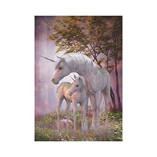 USOPHIA Peaceful Unicorns Mare and Foal Polyester Garden Flag Outdoor Banner 28 x 40 inch Decor Flags for Indoor & Outdoor Decoration
