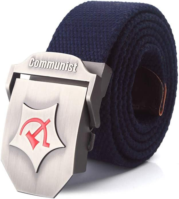 LLZGPZPD Cintur/ón De Lona Hombres Y Mujeres Cintur/ón De Lona De Aleaci/ón Comunista De Hebilla De Lujo Cinturones De Jeans para Hombres Correa T/áctica De La Vendimia Correa De Nylon Militar Masculino