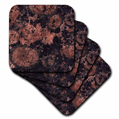 Baltic Granite Brown (3dRose cst_97936_2 Baltic Brown Granite Print-Soft Coasters, Set of 8)