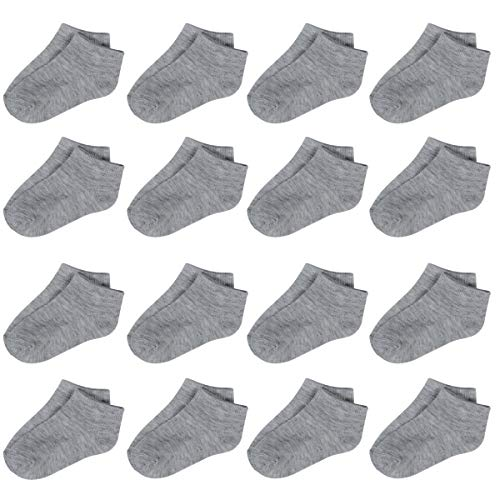 Toddler Socks-16 Packs Kids Low Cut Ankle Socks Baby Boys Girls Breathable Socks(Grey,4/6T)