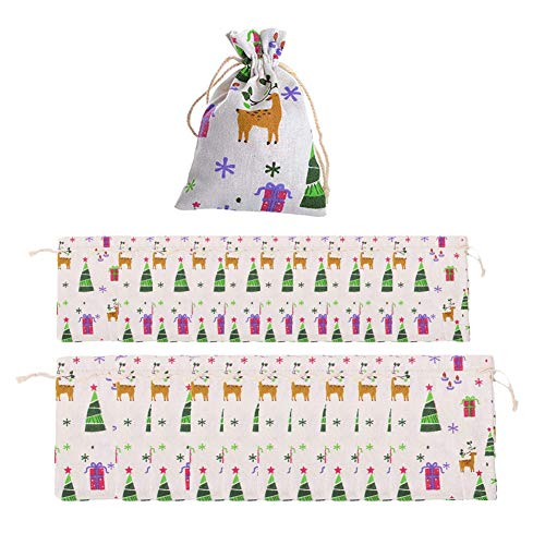 Linen Drawstring Gift Bags Reindeer Candy Burlap Bags for Wedding Christmas Jewelry Treat DIY Craft Favor String Bags Sack Pouches Natural Burlap Bags ()