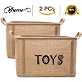 BHOME Toy Storage Bin Organizer Extra Large (2 Pack) UPDATE 2018 With 5pcs Plastic for Kids - Children Toys, Blankets, Clothes/Pet/Dog/Cat - Toy Chest Baskets Perfect for Kid Rooms/Playroom/Shelves