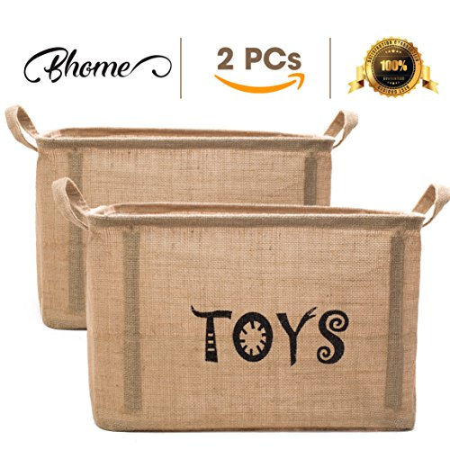BHOME Toy Storage Bin Organizer Extra Large (2 Pack) UPDATE 2018 With 5pcs Plastic for Kids - Children Toys, Blankets, Clothes/Pet/Dog/Cat - Toy Chest Baskets Perfect for Kid Rooms/Playroom/Shelves by BHOME