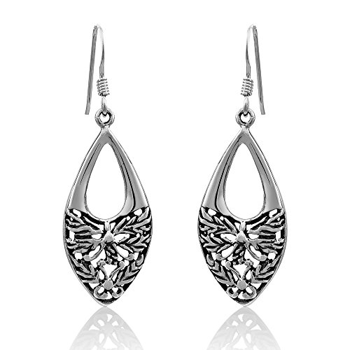 WithLoveSilver 925 Sterling Silver Cut Out Drop Design Celtic Filigree Flower Dangle Earrings