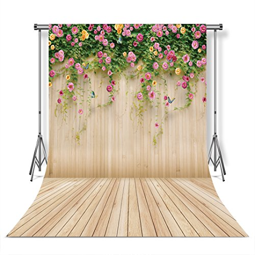 WOLADA 6x9ft Floral backdrops Flowers Wood Wall Photography Backgrounds Wooden Texture Floor for Photo Studio Props - Floral Backgrounds Photography