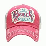 ''Beach Please'' Pink Vintage Baseball Cap.