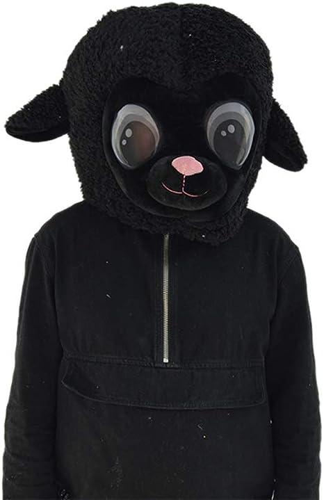 SANEYDER - Máscara de Cabeza de Oveja de Cabra Negra de Felpa para ...
