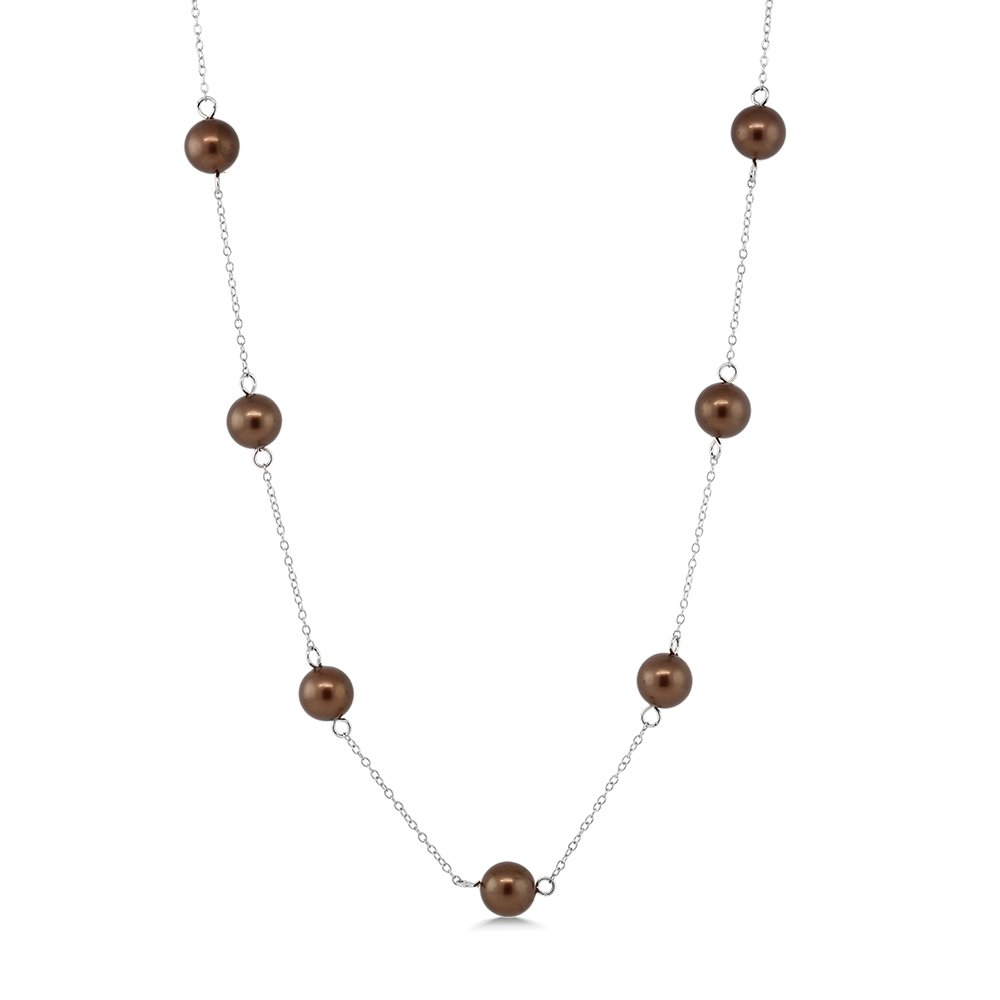 8mm Cognac 925 Silver MOP Mother Of Pearl Shell Pearl Necklace 18''