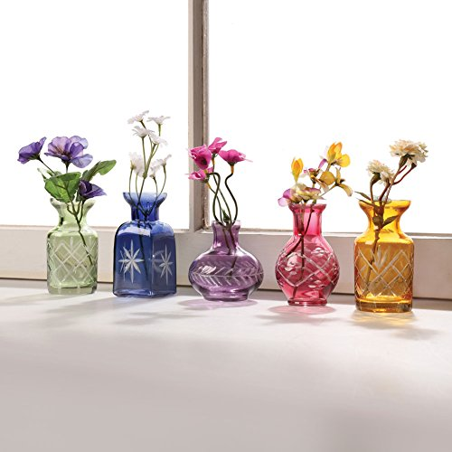 Art Vase Bud Glass (Petite Cut Glass Bud Vases - Set of 5 Different Shapes - Jewel Tones)
