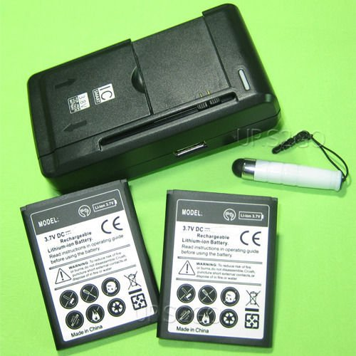 Capacity 1350mah Li Ion Battery (High Capacity 2x 1350mAh Li-Ion Battery External Dock Wall USB Charger Stylus for LG Rumor Reflex LN272 LN272S Phone)