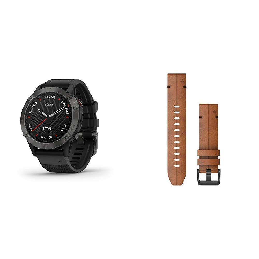 Garmin Fenix 6 Sapphire, Premium Multisport GPS Watch, Features Mapping, Music, Grade-Adjusted Pace Guidance and Pulse Ox Sensors, Dark Gray with Black Band & Quickfit 22 Watch Band, Chestnut Leather