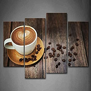 Amazon Com Kitchen Canvas Art Coffee Bean Coffee Cup