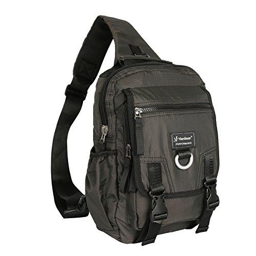 (Vanlison Sling Bag Backpack Cross Body Messenger Bag Shoulder Backpack Travel Rucksack Black)