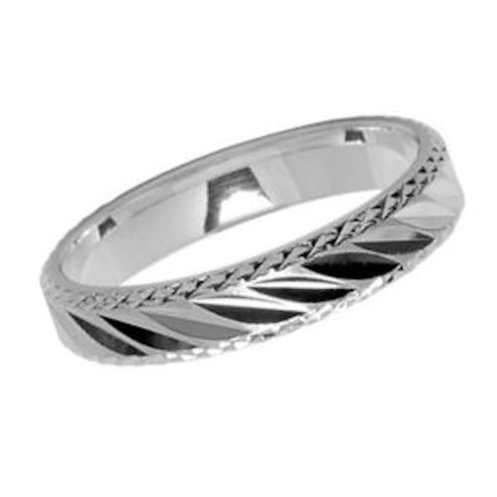Customisable Your Message Engraved Free So Chic Jewels 925 Sterling Silver 4 mm Diagonal Oblique Slash Wedding Band Ring