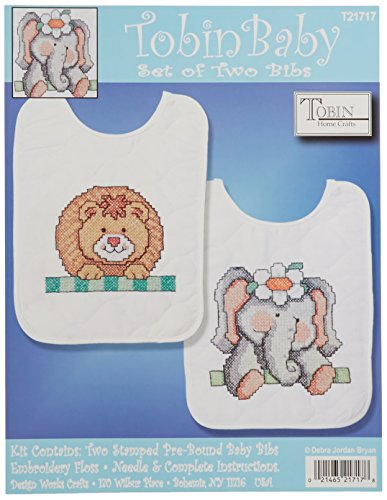 (Tobin Noah's Ark Bib Pair Stamped Cross Stitch Kit, 8 by 10-Inch, Set of 2)