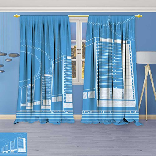 SOCOMIMI Kids Room Planets Curtains (4080 Panels),Network Servers in Data Center Thermal Insulated Blackout Curtains with Star Prints, 72W x 108L inch -