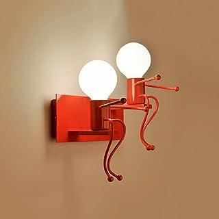 AMOS Stile Europeo creativa LED Lampada da comodino camera da letto della navata laterale Scale Corridoio Lampada da parete per bambini (Colore : Rosso-S.)