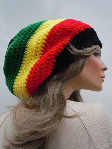 Jamaican Colors, Rasta Hat, Dreadlock Tam, Rasta Tam Cap, Hippie Hat, Bag Hat, Black Red Yellow Green Hat, Jamaica Flag Colors, Reggae Style