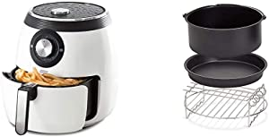 Dash DFAF455GBWH01 Deluxe Electric Air Fryer + Oven Cooker with Temperature Control, 1700-Watt, 6 Quart, 6 qt, White & DFAF450UP1 Air Fryer, Deluxe, Accessory Bundle