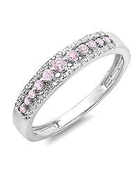 14K Gold Round Pink Sapphire & White Diamond Ladies Anniversary Wedding Band Ring