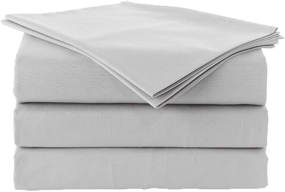 """Eless Bedding Bed Sheets Set RV-Bunk/Camper 34""""X75"""" Size Light Grey Solid Long-Staple 100% Cotton for Bed, Fits Mattress Upto 9"""" Deep Pocket, Soft & Silky Sateen Weave 400 TC Sheets and Pillowcases"""