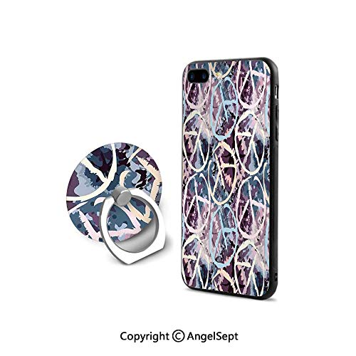 (Protective Case Compatible iPhone 7/8 with 360°Degree Swivel Ring,Digital Pacific Symbol on Batik Backdrop with Blocked Out Color Splashes Art Design,for Girls,Multi)