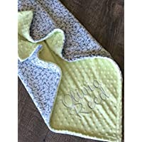 Baby Blanket, Personalized Baby Blanket, Baby Shower Gift, Newborn Gift, Gray Floral Baby Blanket, Floral Baby Blanket, Mint Baby Blanket, Soft Baby Blanket