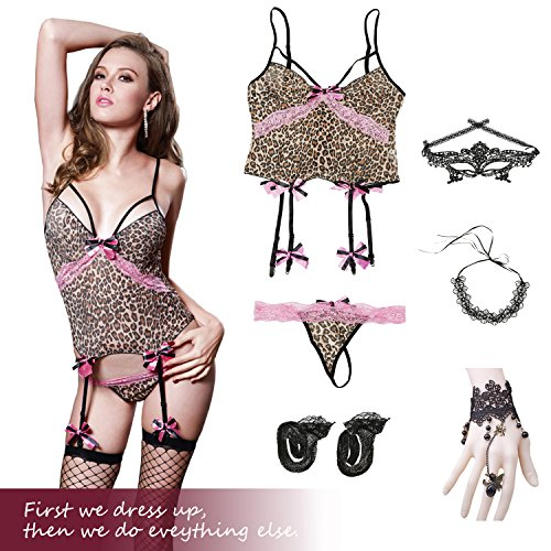 Sexy Leopard Lingerie Women - Includes Garter, Stockings, G-String Eye Mask Blindfold, Lace Necklace, Bracelet Set Free Size (S-L)