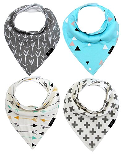 BEST SELLING Baby Bandana Bibs - 4 Pack - Absorbent Stylish Baby Bib Gift Set