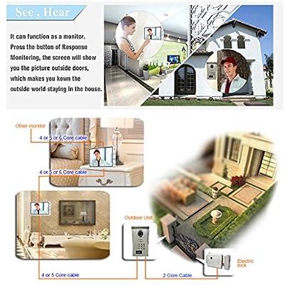"""AMOCAM Video Door Phone System,Full Aluminum Alloy Waterproof IR Night Vision Camera, 9"""" LCD Monitor, Wired Video Intercom Doorbell Kits, Support RFID Keyfobs,Password Unlock"""