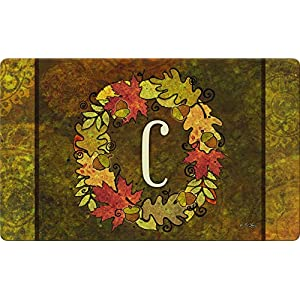 Toland Home Garden Fall Wreath Monogram C 18 x 30 Inch Decorative Autumn Floor Mat Colorful Leaves Doormat 45