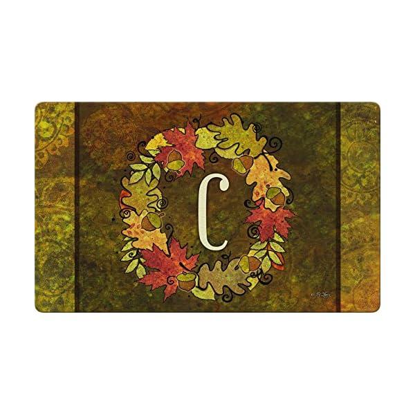 Toland Home Garden Fall Wreath Monogram C 18 x 30 Inch Decorative Autumn Floor Mat Colorful Leaves Doormat