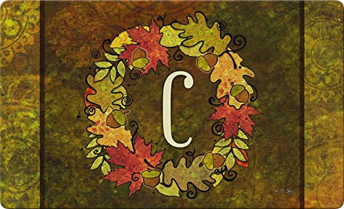 Toland Home Garden Fall Wreath Monogram C 18 x 30 Inch Decorative Autumn Floor Mat Colorful Leaves Doormat