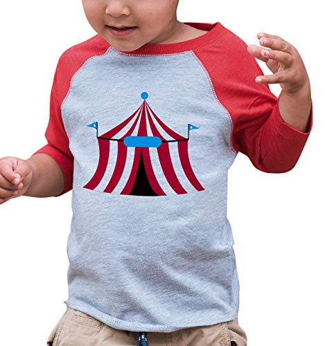 7 ate 9 Apparel Boy's Novelty Circus Vintage Baseball Tee 3T Red ()