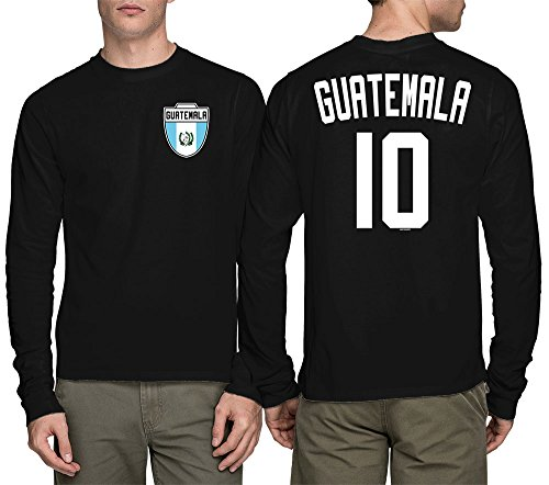 (HAASE UNLIMITED Long Sleeve Mens Guatemala Guatemalan - Soccer, Football T-Shirt (Medium, Black))