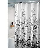 Black and Gray Shower Curtain InterDesign Anzu Fabric Shower Curtain Water-Repellent and Mold- and Mildew-Resistant for Master, Guest, Kids', College Dorm Bathroom, 72