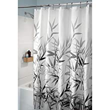 """iDesign Anzu Fabric Shower Curtain Water-Repellent and Mold- and Mildew-Resistant for Master, Guest, Kids', College Dorm Bathroom, 72"""" x 72"""", Black and Gray"""