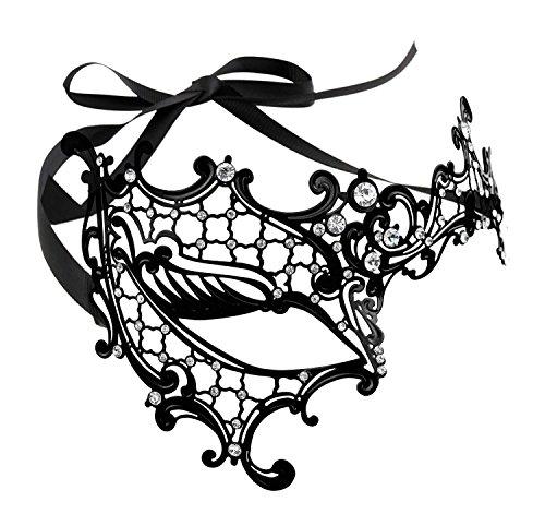 Coxeer Women's Signature Phantom Of The Opera Venetian Mask (Black-Clean Stones)