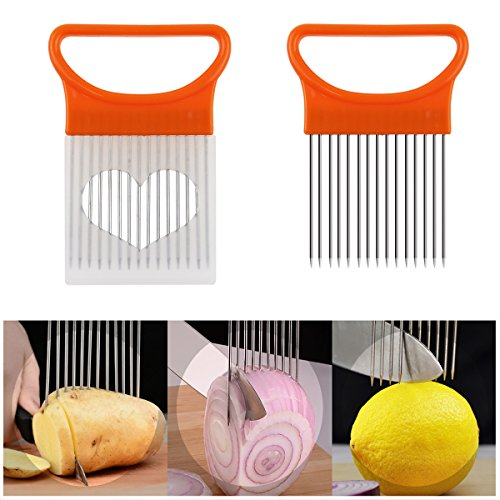 Crinkle Cut Knife set, 1 Fork Slicing Helper 3 Stainless Steel Crinkle Cutter, Fruit And Vegetable Wavy Chopper Knife, Potato Cutter Onion Cutter French Fry Cutter, 4 Colors, Kitchen Must Have Tool by AiTrip (Image #5)