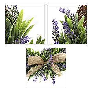 TRRAPLE Artificial Flower Decoration Wreath, 1 Pcs Simulation Lavender Wreath, Artificial Christmas Fake Flower Decoration Garland with Bow-Knot Ornament for Front Door Wall Mirror Window 3