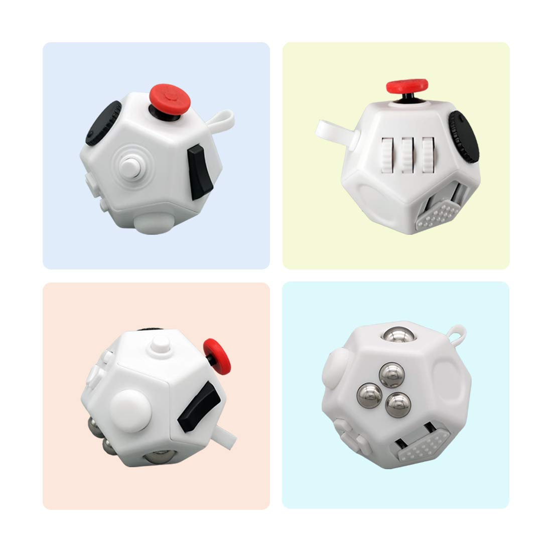 Orisignall Fidget Dodecagon Cube Toys,1 Fidgeting Toys for Sensory Kids and Adults Relieves Stress and Anxiety Finger Attention with ADD EDC ADHD White