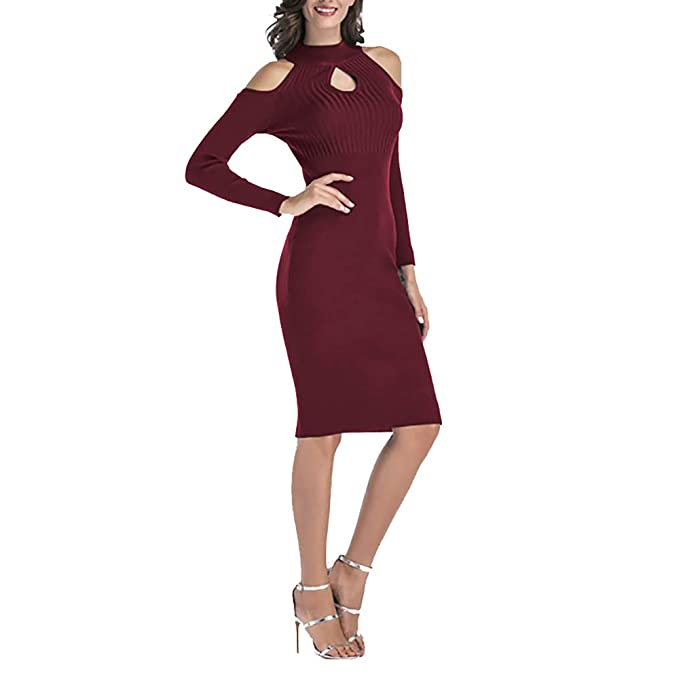 Vestido de Mujer Invierno OtoñO 2018, Moda Delgado Largo Suéter Casual Mujeres Sexy Faldas Jerséis